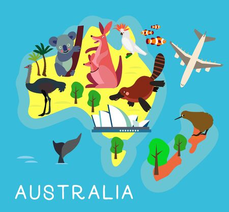 Animal Cartoon Map. Australia for Children and Kids. Vector Illustration.