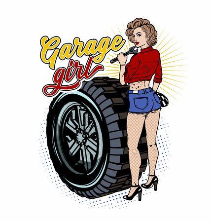 Pin Up Girl Illustration With Wheel. Garage Girl. Vector Illustration.