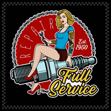 Spark Plug Pin Up Girl. Vintage Garage Girl. Vector Illustration.