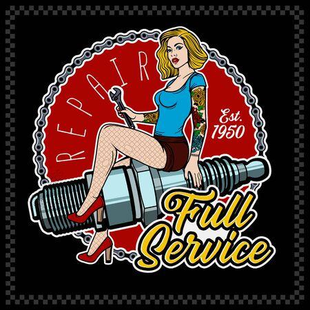 Spark Plug Pin Up Girl. Vintage Garage Girl. Vector Illustration.