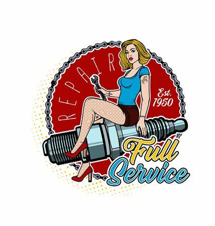 Spark Plug Pin Up Girl. Vintage Garage Girl. Vector Illustration. Foto de archivo - 130931674