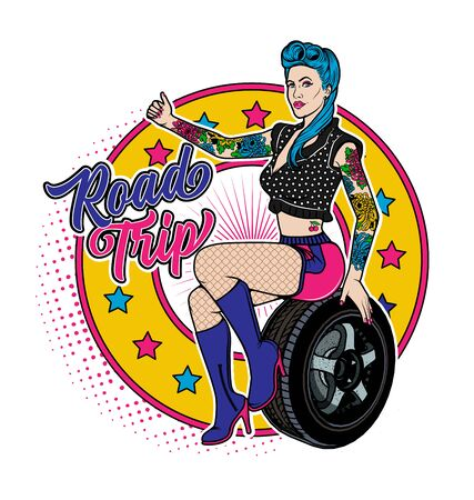 Rockabilly Girl Sitting On A Wheel. Pretty Woman Catches The Car. Vector Illustration.