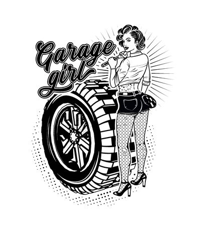 Pin Up Girl Illustration With Wheel. Garage Girl. Vector Illustration.
