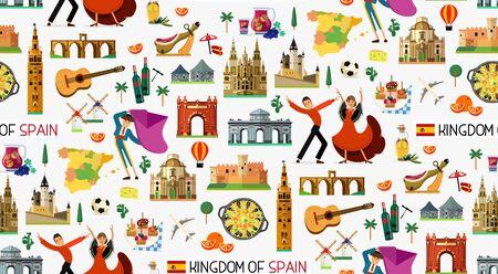 Spain Travel Icons. Spain Travel Map. Vector. Standard-Bild - 132583050