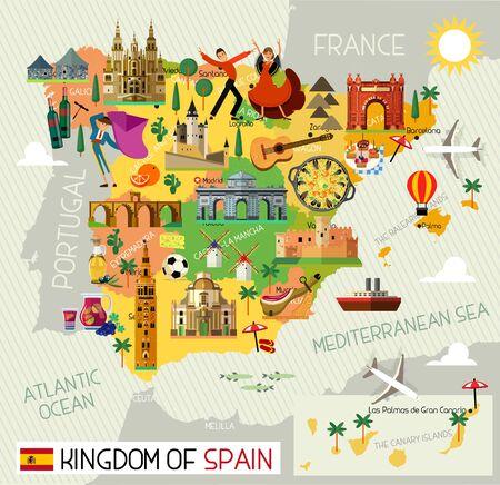 Icone di viaggio in Spagna. Mappa di viaggio della Spagna. Vettore. Vettoriali