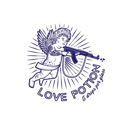 Cupid with Assault Rifle. Valentine s Day.