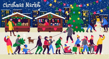 Christmas market, shops with souvenirs. Festive teenagers with shopping bags , adults with kids. People walking between decorated stalls or kiosks.