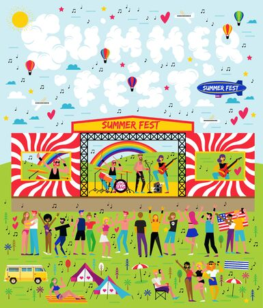 Poster for the music summer festival. Open-air live performance in the outdoor suburban landscape.
