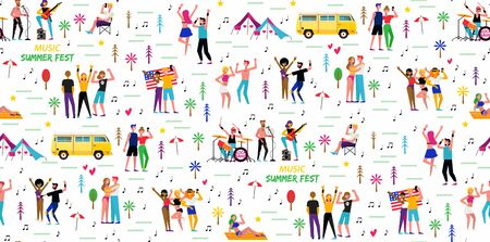 Poster for the music summer festival. Open-air live performance in the outdoor suburban landscape. Party in park, camp. Pop, rock musicians and funny dancing people.