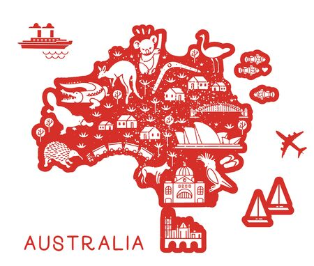 Australia Travel Line Icons Map. Travel Poster with animals and sightseeing attractions. Inspirational Vector Illustration.