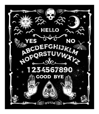 Board with the skull. Occultism Set. Vector Illustration.