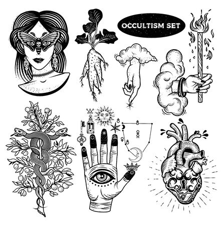 Occultism Set With Woman With Moth Eyes, Mandrake Root, Snakes On The Tree, Alchemical symbols on The Hand, Hand of God with clouds, Heart Lock.
