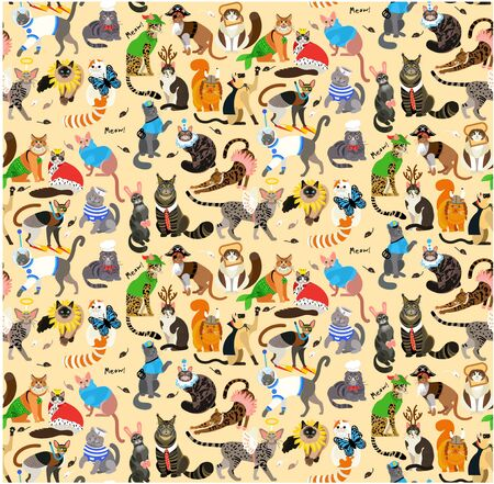 21 Cats Dressed In Costumes. Vector Illustration.