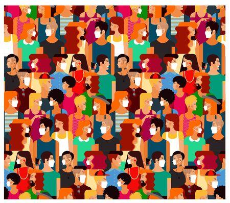 Menschenmenge mit medizinischen Masken. Vektor-Illustration. Vektorgrafik