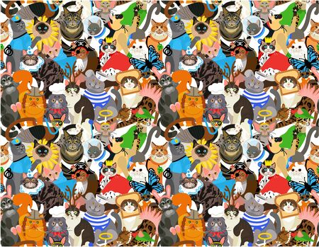 Seamless Pattern with Cats Dressed In Costumes