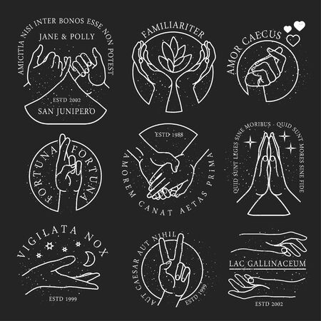 Hands Gestures Icons. Illustration.