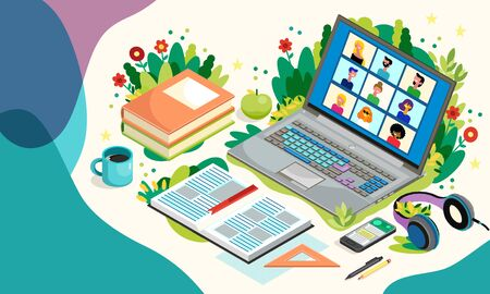 Online Education With Laptop And Pupils. Distance Learning. Vector Illustration. Teleconference Web Video Conference Call During Coronavirus COVID-19. Vector Illustratie