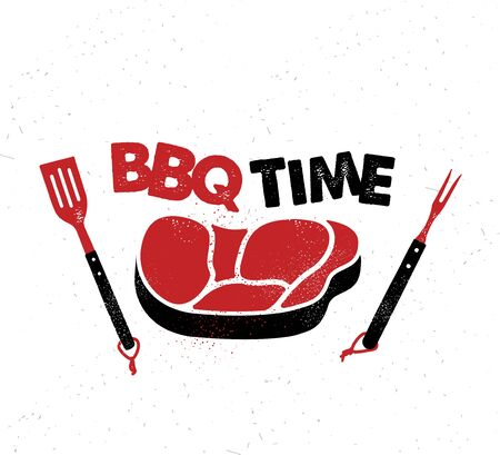 BBQ Time. Hand drawn typography poster.Vector Typography. 矢量图像