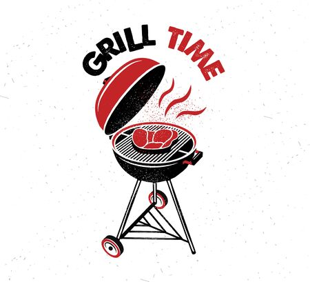 Grill Time. Hand drawn typography poster.Vector Typography.