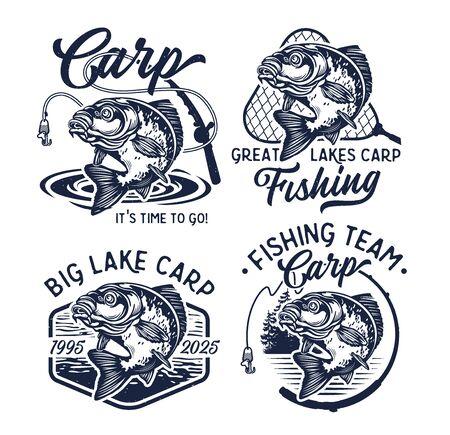 Vintage Carp Fishing. Illustration.
