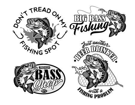 Vintage Largemouth Bass Fish Fishing Logos. Vector Illustration.