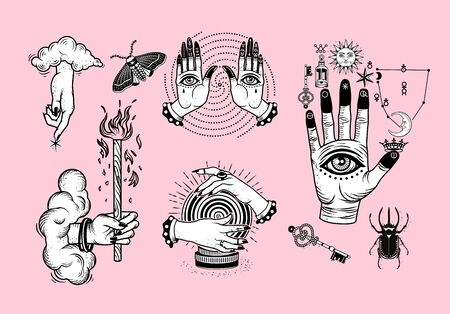 Occultism Set with Alchemical symbols on The Hand, Hand of God with clouds, Hands with Eyes, Crystal Ball, Rhinoceros Beetle.