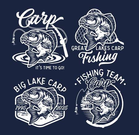 Vintage Largemouth Bass Fish Fishing Logos. Carnivorous Freshwater Gamefish. Black and white. Vector Illustration.
