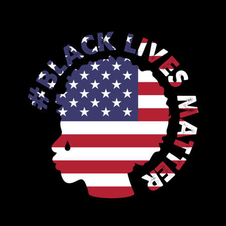 Vector illustration with the text Black Lives Matter . Silhouette of a black Human and the flag of the United States of America. All lives matter, stop racism poster.