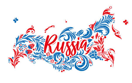 Map of Russia based on folk Traditional Khokhloma Hohloma painting. Russia Map Lettering red and blue colors.