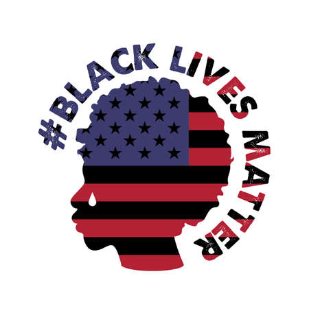 Vector illustration with the text Black Lives Matter . Silhouette of a black Human and the flag of the United States of America. Ilustrace