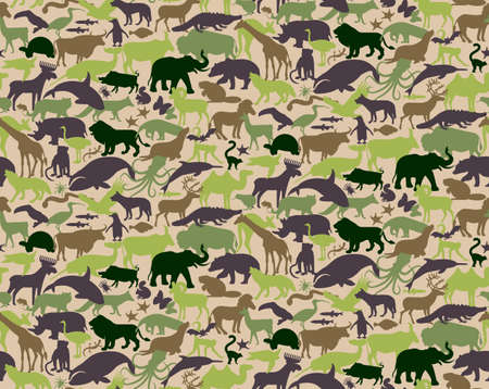 Seamless Camouflage Pattern with Animals For Kids. Animal Military Camouflage. Abstract seamless pattern for cloth textile.