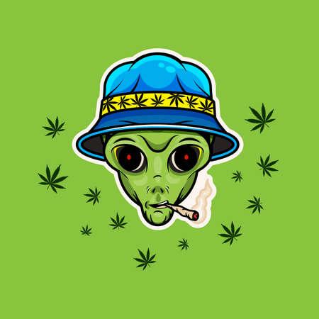 Alien with Jamb. Alien Smoking Weed Poster. Vector Illustration.