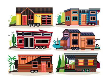 Small Tiny Houses. Modern Mobile Trailers. Vector Illustration.