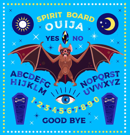 Spirit Board with Bat. Ouija Board . Vector Illustration. 向量圖像