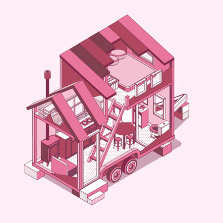 Small Tiny house. Modern Mobile Trailers. Vector Illustration.