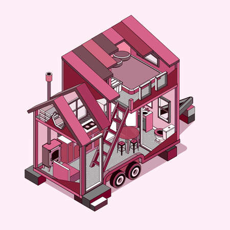 Tiny house. Modern Mobile Trailers. Vector Illustration.