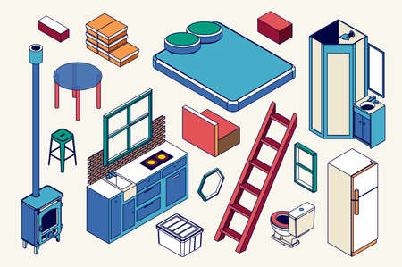 Isometric Furniture For Little Tiny House. Vector Icons Illustrations.