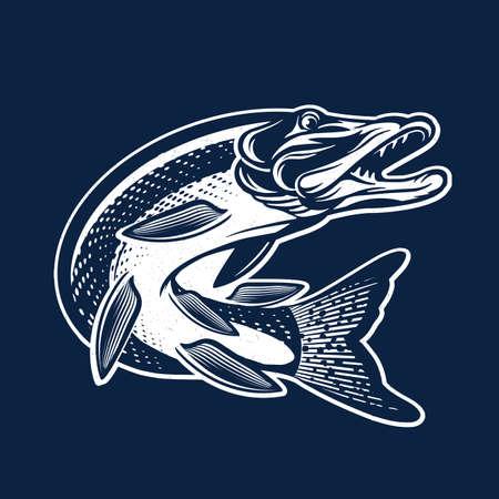 Vintage Pike Fish icon. Vector Fishing Illustration.