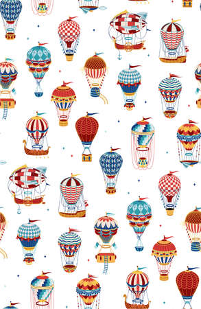 Seamless Pattern with Hot Air Balloons Isolated On White Background. Vector Illustration. Vetores