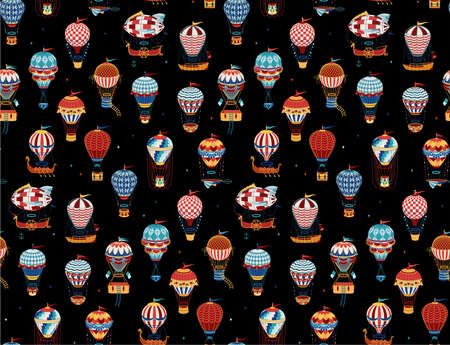 Seamless Pattern with Hot Air Balloons Isolated On White Background. Vector Illustration.