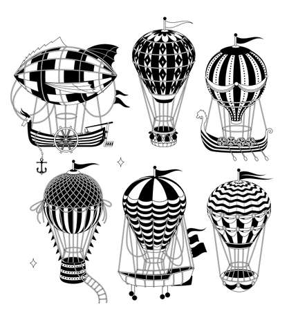 Set Of Hot Air Balloons Isolated On White Background. Vector Illustration.