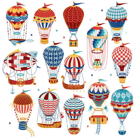 Set Of Colorful Hot Air Balloons Isolated On White Background. Vector Illustration.