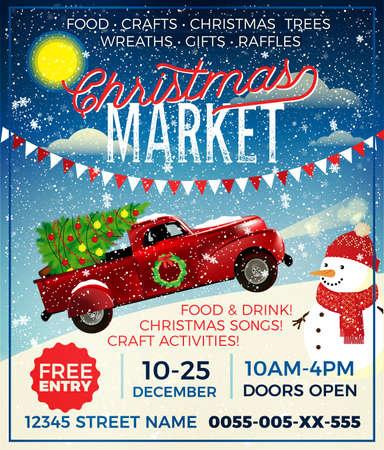 Christmas Market Flyer. Christmas Market Poster Template.
