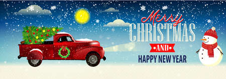 Christmas banner. Background Xmas design with car and tree. Horizontal Christmas poster, greeting cards, headers, website 版權商用圖片