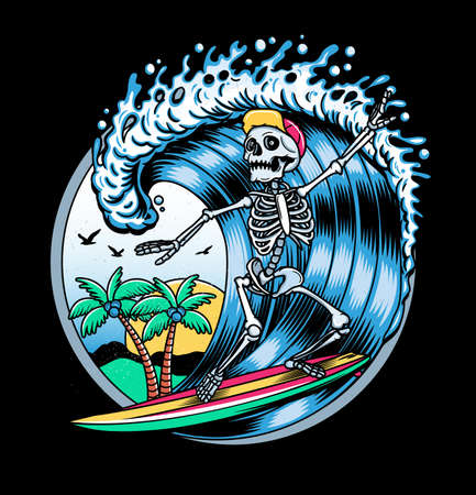 Surfing T-shirt Vector Designs. Vector Logo Illustration with Skeleton Surfer. Vintage Surfing Emblem for web design or print. Surfer logo templates. Surf Badge. Surfboard elements.