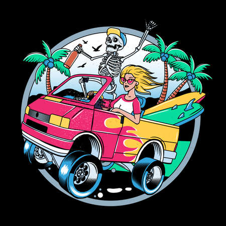 Surfing T-shirt Vector Designs. Surf Van with Crazy Skeleton and Blondie Girl. Vintage Surfing Emblem for web design or print. Surfer logo templates. Vector Illustration.