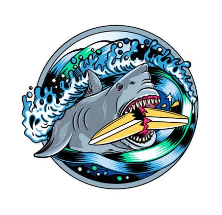 Surfing T-shirt Vector Designs.Angry Shark and Surfing Board. Vector Illustration.