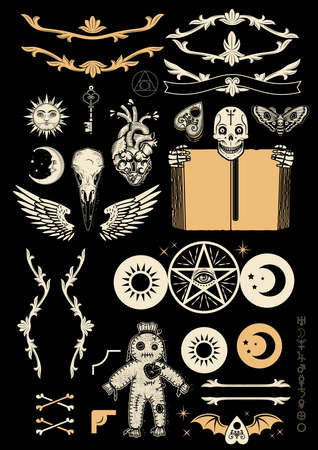 Occultism Set with Pentagram, Voodoo Doll, Human Skull With Old Book, Wings, Monograms, Crow Skull, And Alchemical symbols. Vector Illustration.