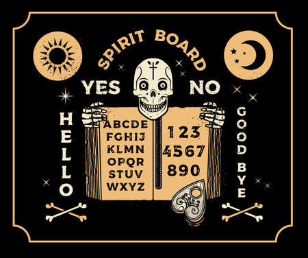 Board With Skeleton and Old Book. Occultism Set. Vector Illustration.