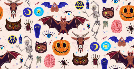 Occultism Set. Seamless Pattern With Magic Characters. Goat, Pumpkin, Cat, Skeleton, Beetle, Owl, Spider, and Other Symbols. Vector Illustration For Kids.